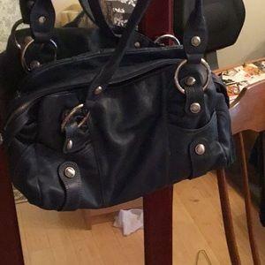 Navy leather bag by B Makowsky EUC